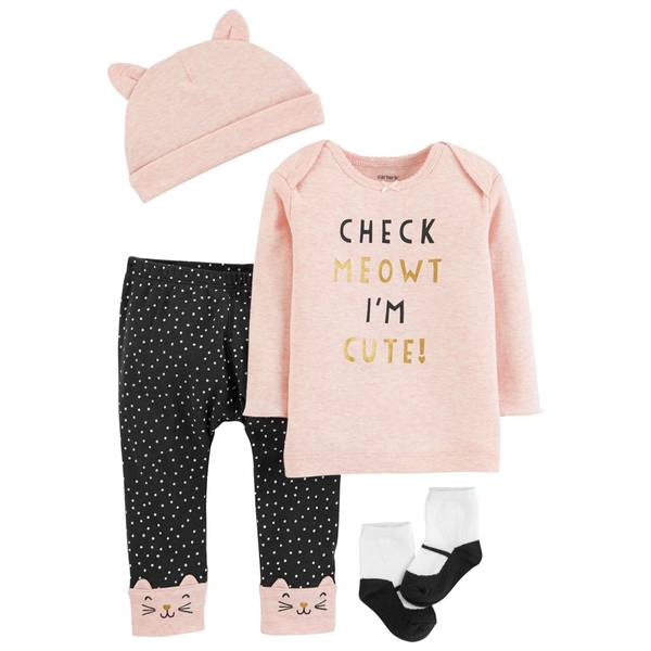 Baby Girls' 3 Piece I'm Cute Pink Clothing Set