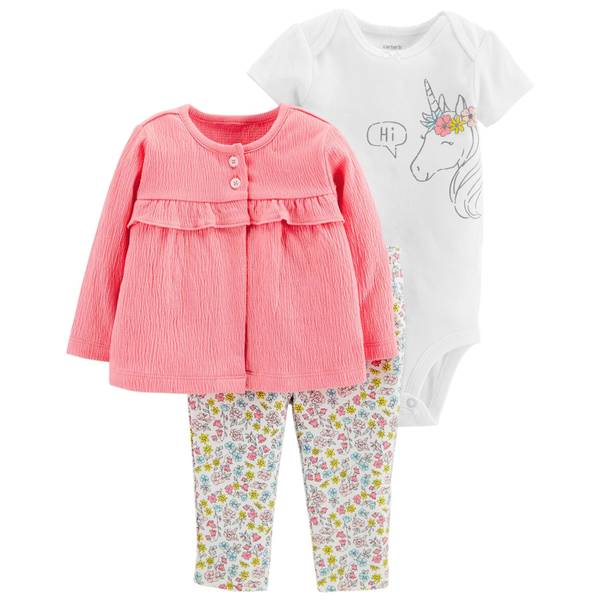 Infant Girls' Pink LBB 3-Piece Set Unicorn Pants