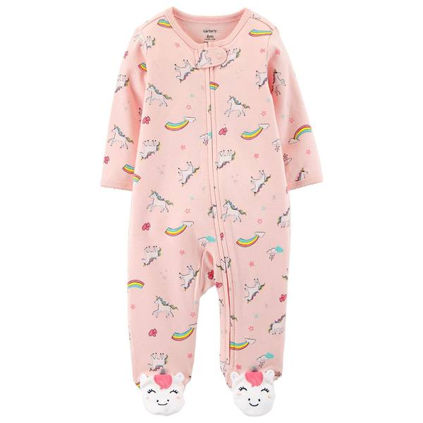 Baby Girl's Unicorn Zip-Up Sleep and Play Pajamas
