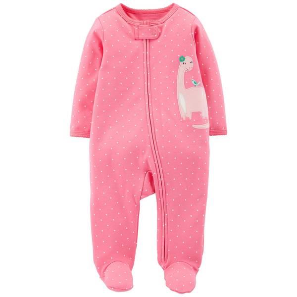 Baby Girl's Dinosaur Zip-Up Sleep and Play Pajamas