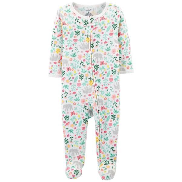 Baby Girl's Floral-Printed Thermal Sleep and Play Pajamas