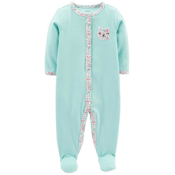 Baby Girl's Turquoise Bear Snap-Up Sleep and Play Pajamas