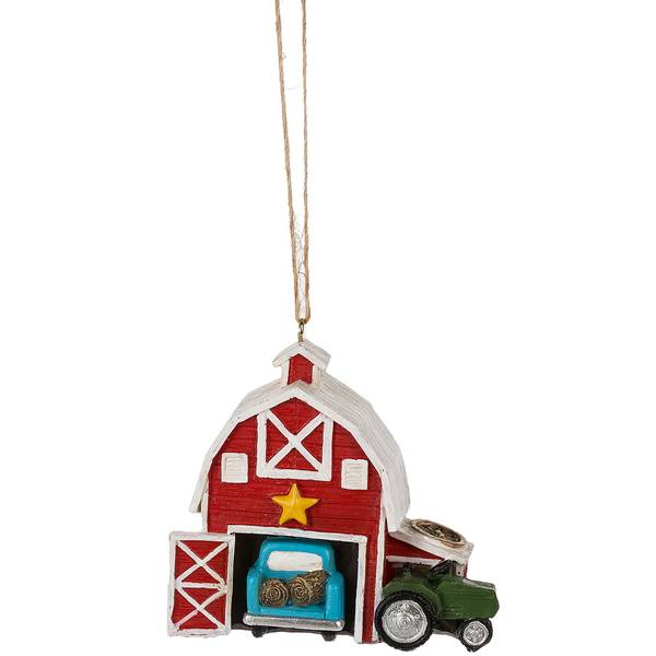 Barn with Truck and Tractor Ornament