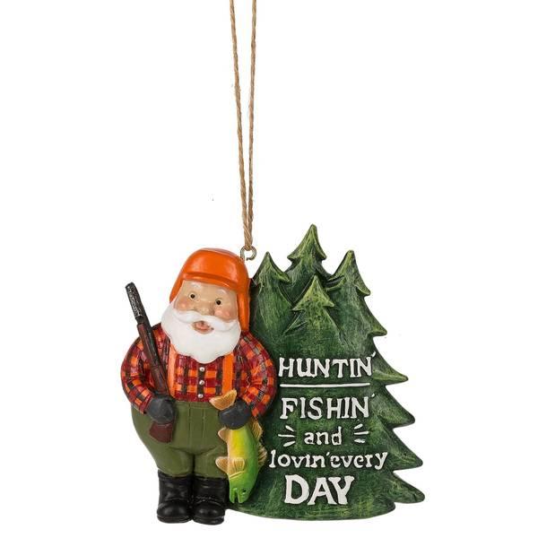 Huntin' Fishin' Lovin' Santa Ornament