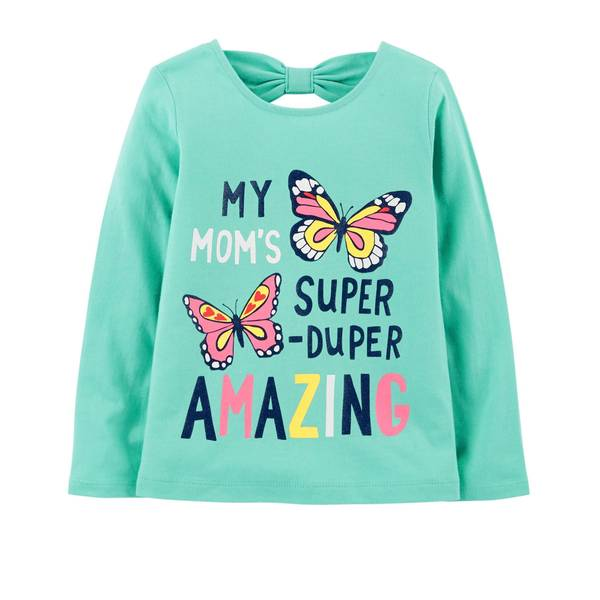 Toddler Girl's Turquoise Mom's Amazing Bow-Tie Tee