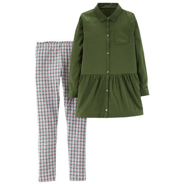 Girl's Olive & White & Blue Two-Piece Button-Front Top & Geo Leggings Set
