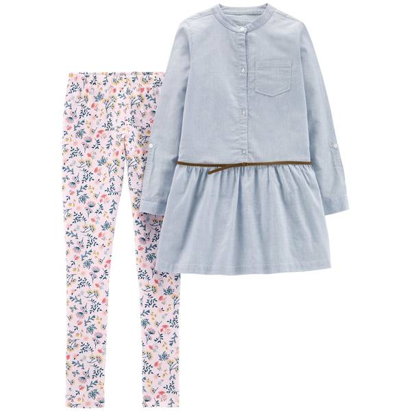 Girl's Blue & Pink Two-Piece Belted Top & Floral Leggings Set