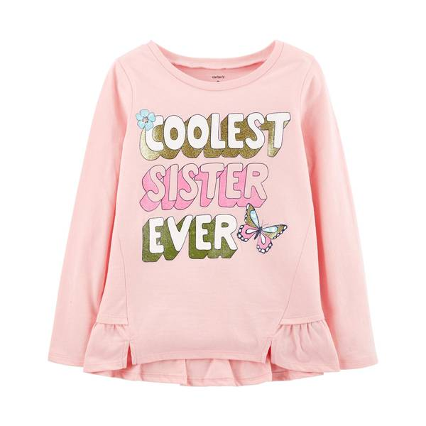 """Girl's Pink """"Coolest Sister Ever"""" Ruffle Matchtastic Tee"""