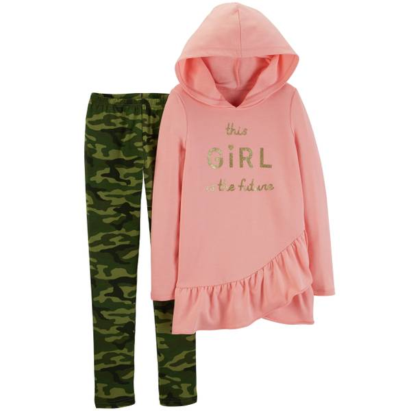 Carter's Big Girls' 2-Piece This Girls' Pant Set Camouflage & Pink thumbnail