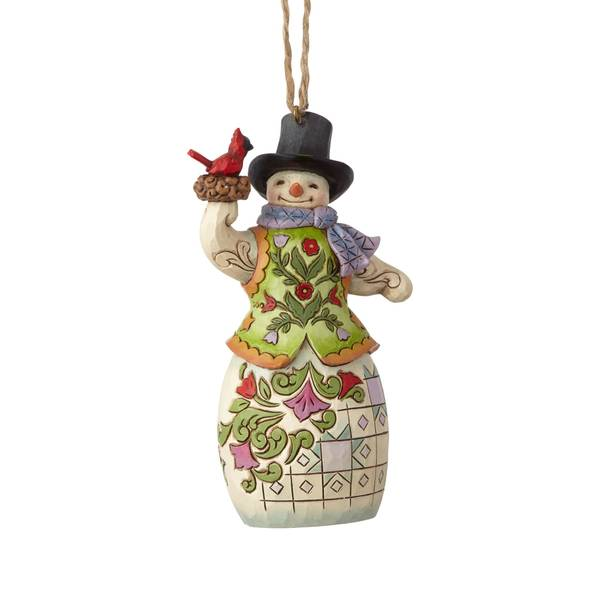 Snowman with Cardinal Ornament