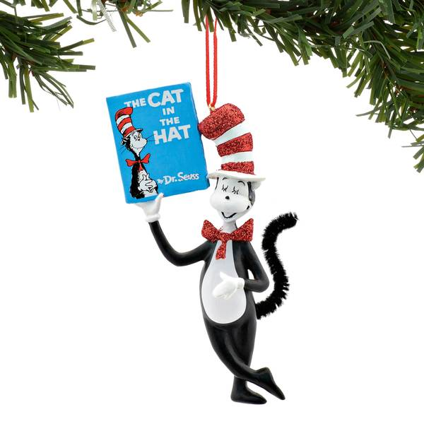 Dr. Seuss Holding Book Ornament
