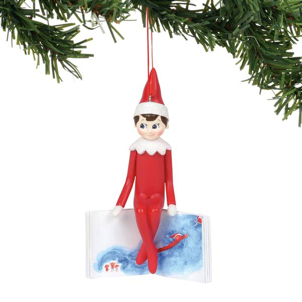 Elf Sitting On The Book Ornament
