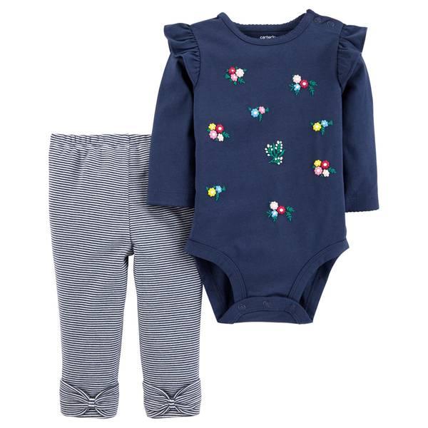 Infant Girls' Navy Flower Stripe Set