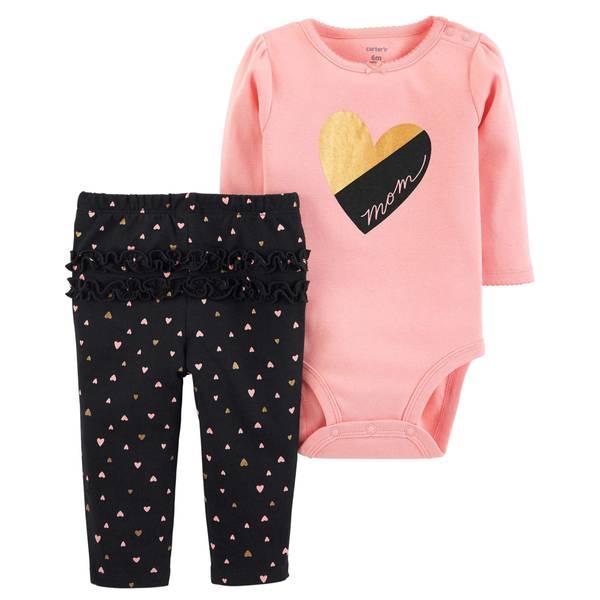 Infant Girls' Pink Heart Mom Set