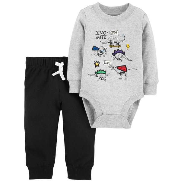 Infant Boys' Heather Dino Mite Set