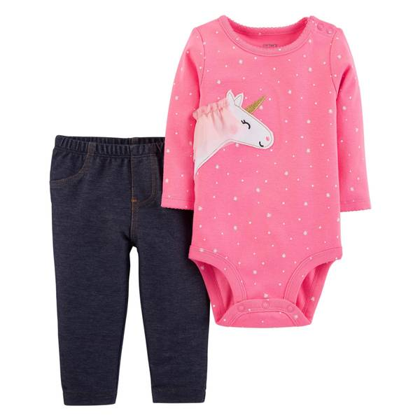 Infant Girls' Pink Unicorn Jeggings