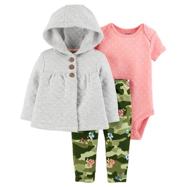 Infant Girls' Camouflage & Heather Quilted Cardigan Set