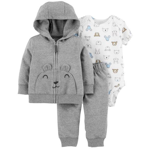 Infant Boys' Heather 3-Piece Cardigan Bear Set