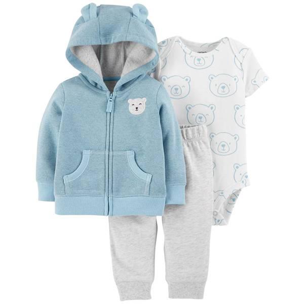 Infant Boys' Blue 3-Piece Cardigan Bear Set