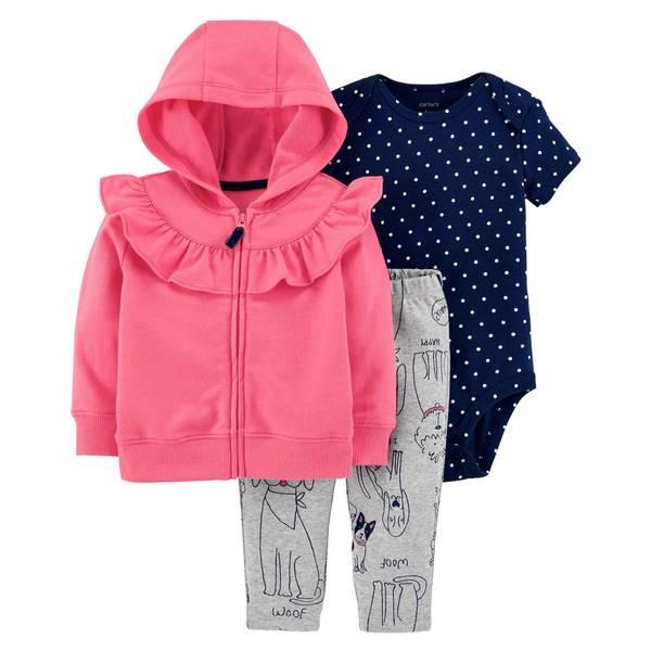 Infant Girls' Pink Dog Ruffle Cardigan Set