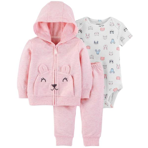 Infant Girls' Pink Pocket Face Cardigan Set