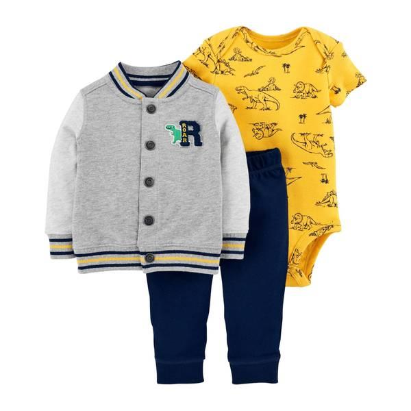 Infant Boys' Heather 3-Piece Cardigan Roar Set