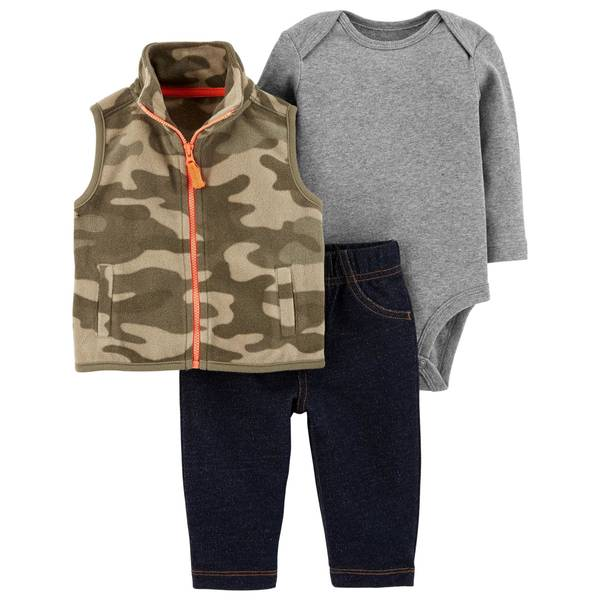 Infant Boys' Green & Camouflage 3-Piece Vest Set