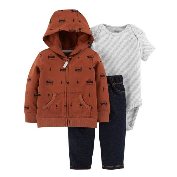 Infant Boys' Brown 3-Piece Cardigan Raccoon Set