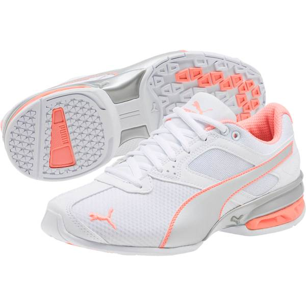 Women's White and Silver and Fluo Peach Tazon 6 Metallic Running Shoes