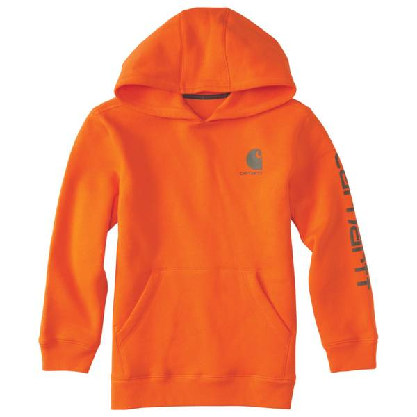Carhartt Boy's Blaze Orange Logo Screen-Printed Hoodie thumbnail