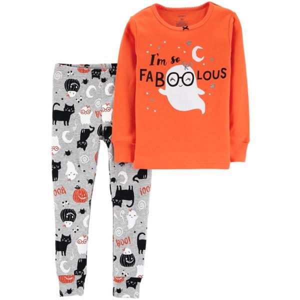 infant girls halloween orange fab 2 piece pajamas orange