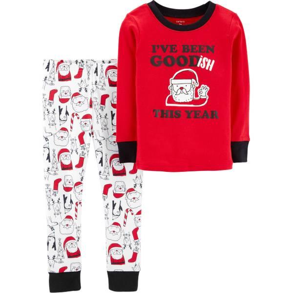 toddler boys christmas 2 piece pajamas santa red