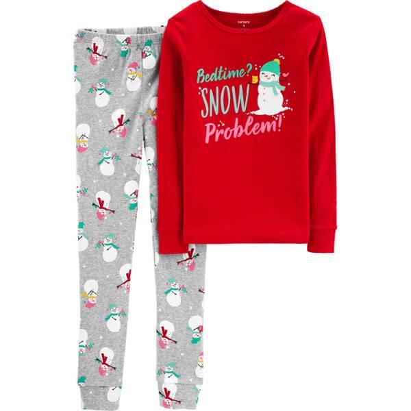 girls 2 piece christmas snowman pajamas