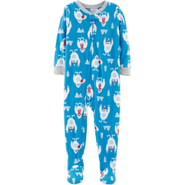 infant boys 1 piece fleece christmas yeti pajamas blue