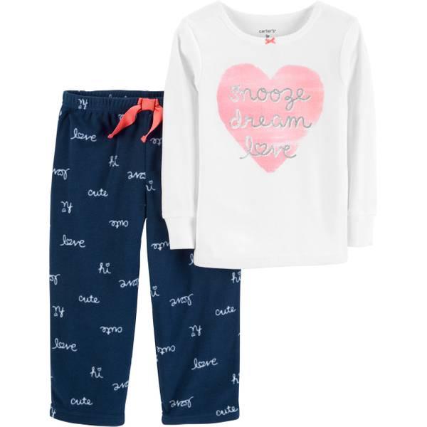 e56ba4ed5bb4 Carter s Infant Girls  2-Piece Fleece Heart Pajamas Navy