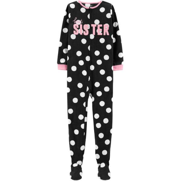 4ef96eb797b8 Carter s Big Girls  1-Piece Fleece Best Sister Pajamas Black   White