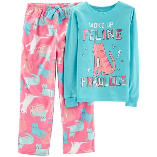65ef8bcb2 Carter s Big Girls  2-Piece Fleece Woke Up Feline Pajamas Turquoise