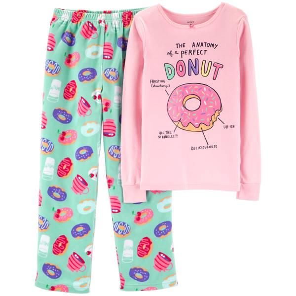 7378bddb6 Carter s Big Girls  2-Piece Fleece Donut Pajamas Mint