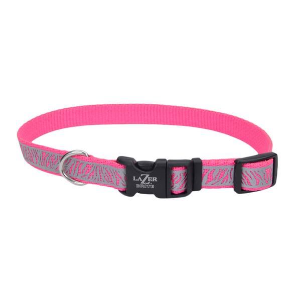 """5/8""""x12-18"""" Lazer Brite Pink Zebra Collar"""