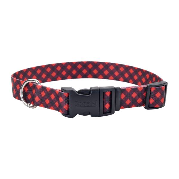 "1""x14-20"" Red & Black Bufflo Plaid Collar"