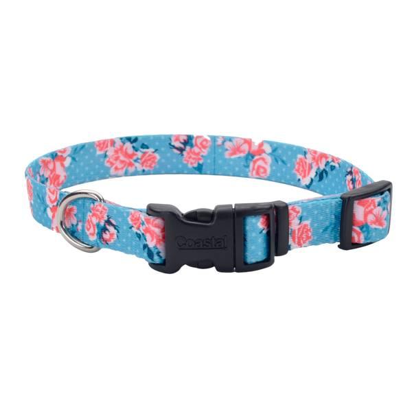 "5/8""x8-12"" Pink/Teal Dot Flowers Collar"