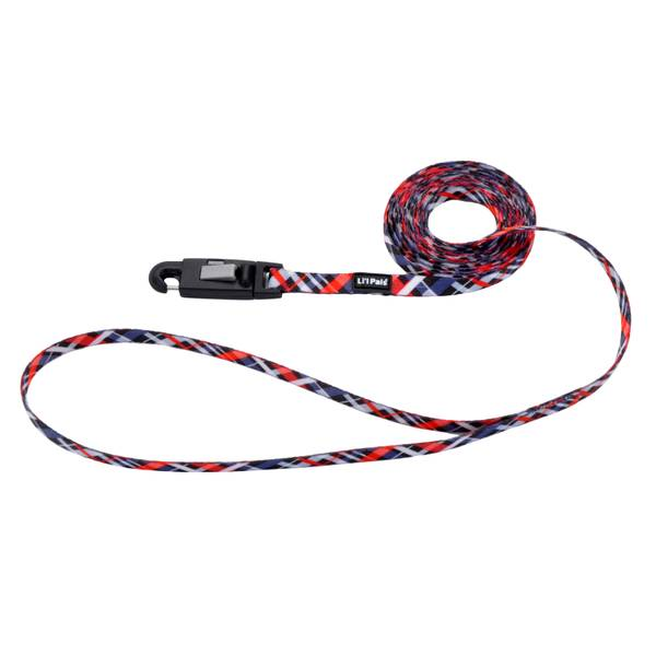 "5/16""x6' Lil Pal Red/Grey Plaid Leash"