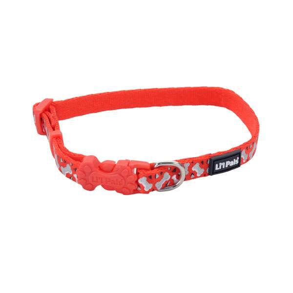 "3/8""x6-8"" Lil Pal Red & White Bones Collar"