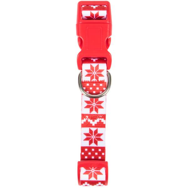 Red White Fair Isle Print Collar