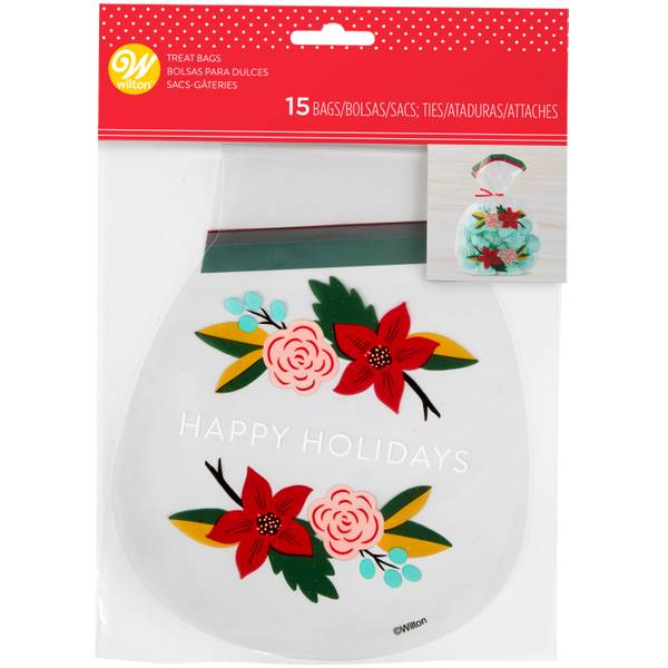 15-Count Holiday Floral Shaped Treat Bag