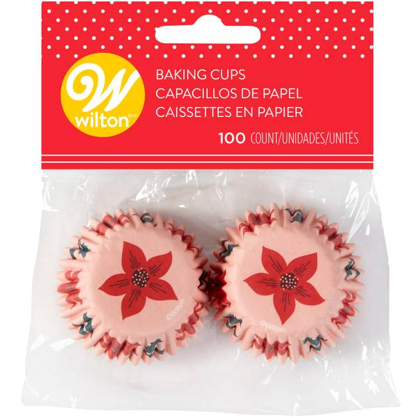 100-Count Mini Holiday Floral Baking Cup