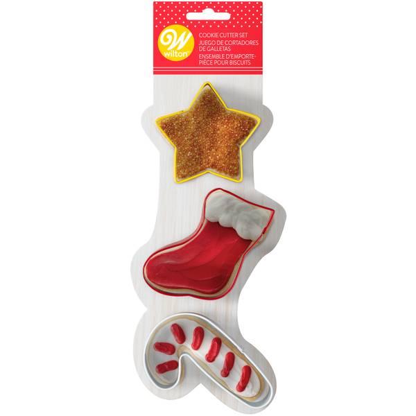 3-Piece Star-Stocking-Cane Cookie Cutter Set