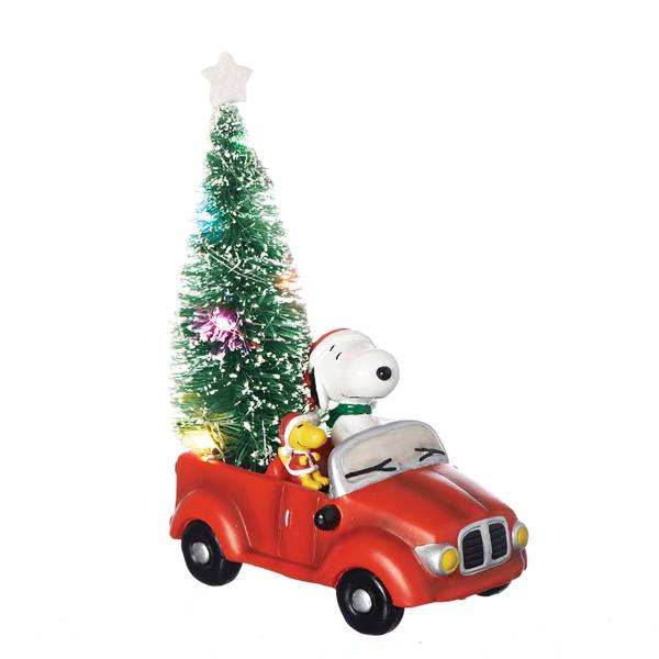 "6.5"" LED Snoopy & Woodstock Car Figurine"