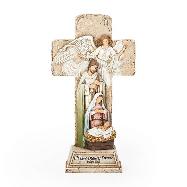 "9.25"" Cross with Holy Family Figure"