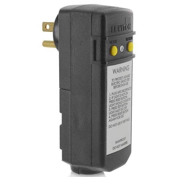 15 Amp Right Angle Plug-In GFCI, Black